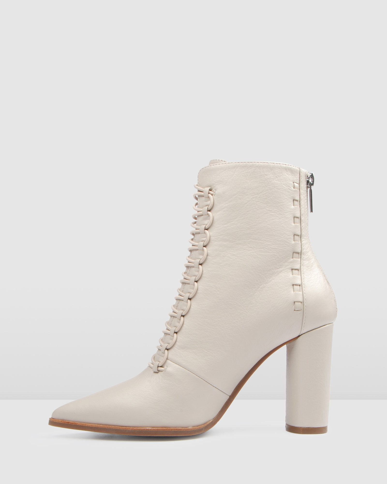TEE HIGH ANKLE BOOTS BONE LEATHER