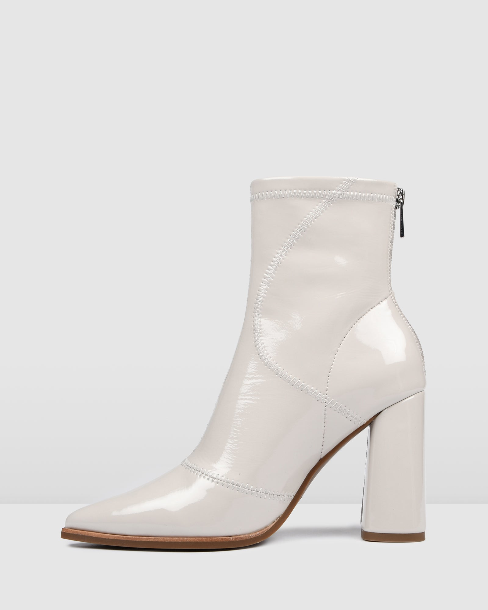 TEX HIGH ANKLE BOOTS BONE PATENT