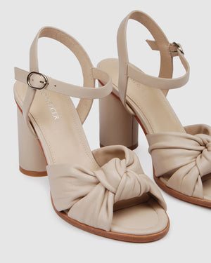UNAIS HIGH HEEL SANDALS BEIGE LEATHER