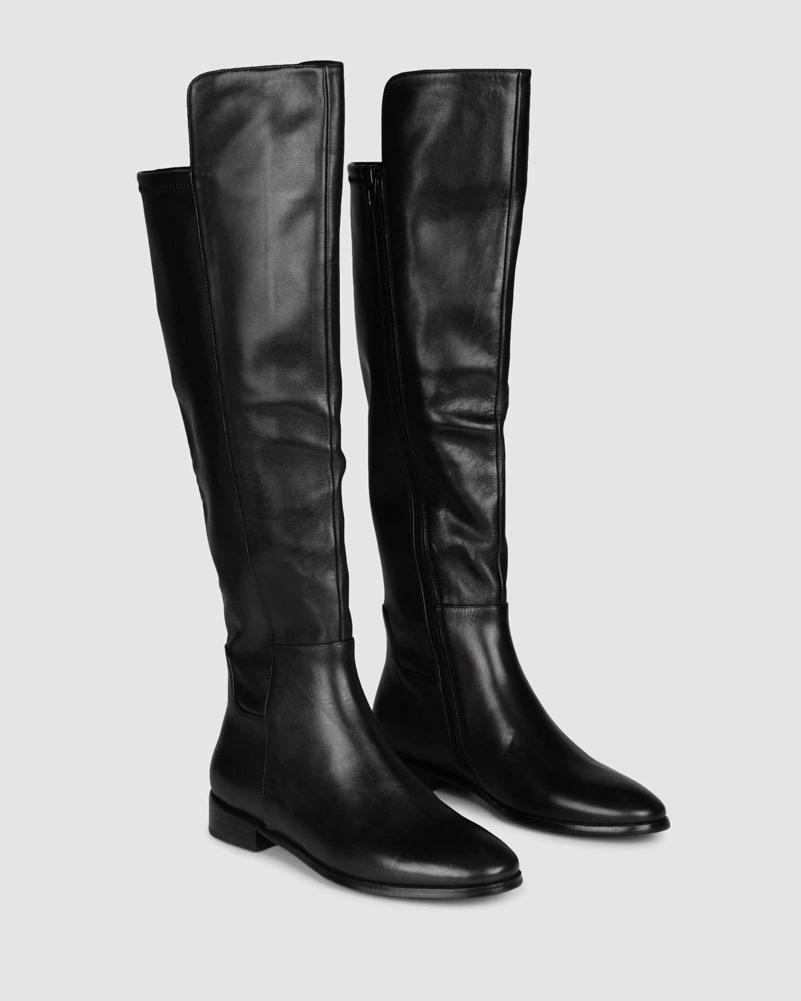 VENTURA FLAT OVER THE KNEE BOOTS BLACK LEATHER