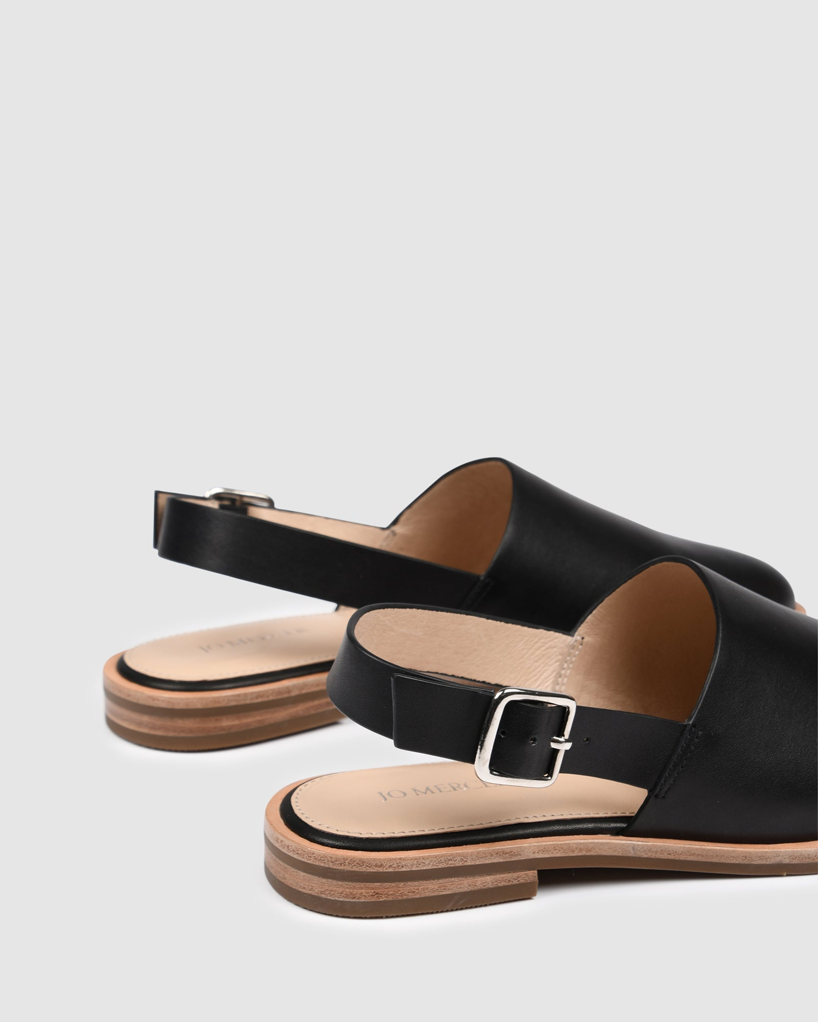 WALDORF CASUAL FLATS BLACK LEATHER