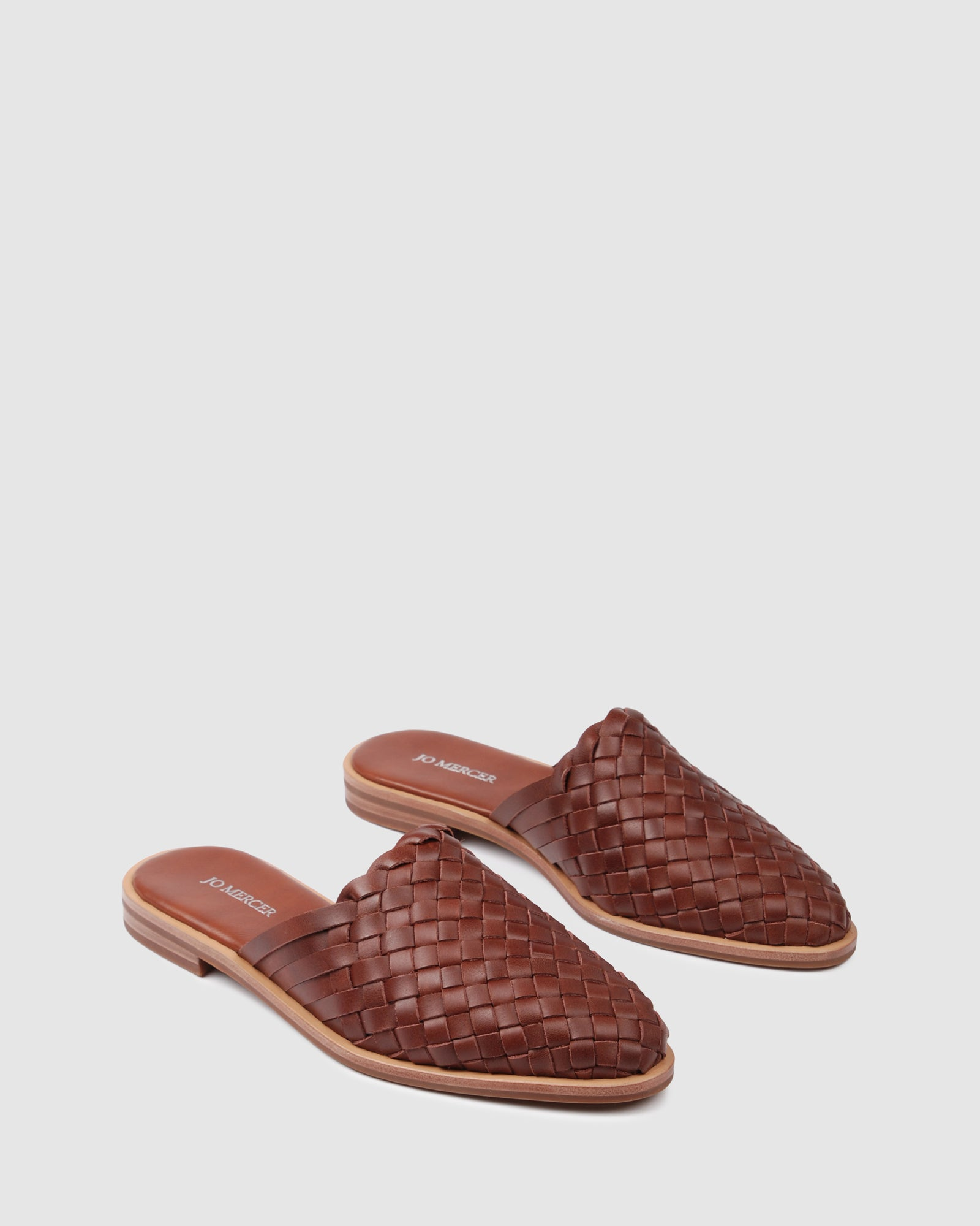 WEAVER CASUAL FLATS DARK BROWN LEATHER