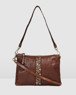 CAMPOMAGGI WILLOW ENVELOPE CROSS BODY BAG COGNAC LEATHER