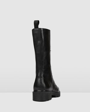 ZIG KNEE BOOTS BLACK LEATHER