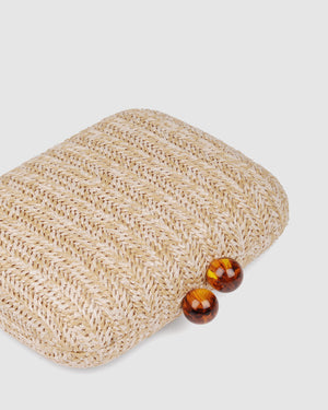 ZOELLA CLUTCH NATURAL RAFFIA