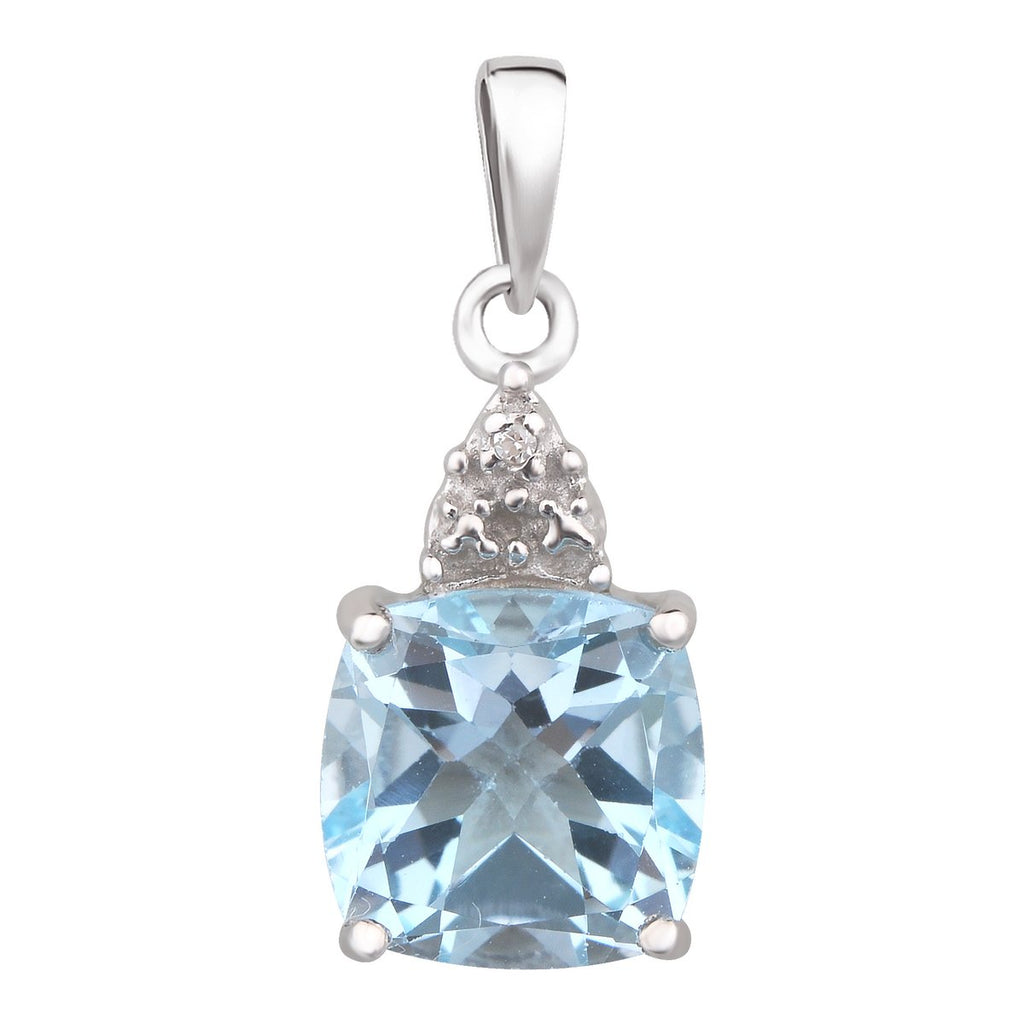 Sterling Silver Blue Topaz (Cushion 8X8) & Dia 0.003ct Pendant