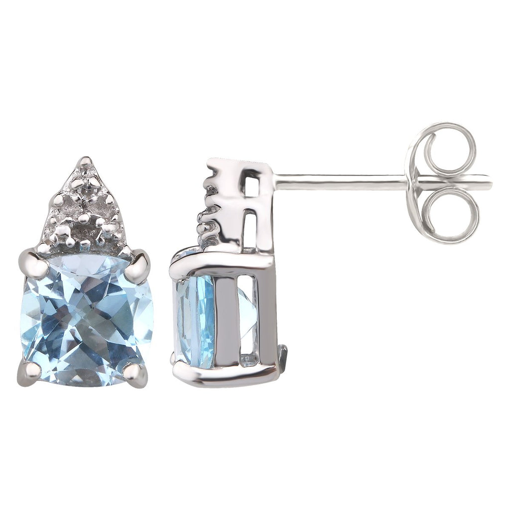 Sterling Silver Blue Topaz (Cushion 6X6) & Dia (Tdw=0.006ct) Earrings