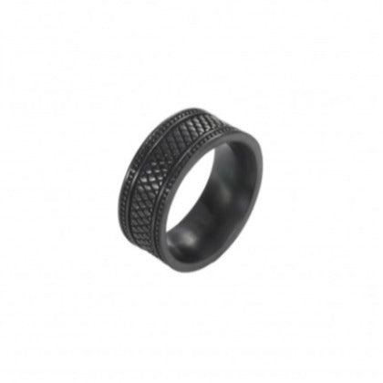 Ion Plated Black Stainless Steel pattern Ring