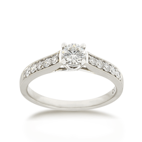 18ct Brilliant-cut 0.50ct TDW Diamond Shoulder Solitaire