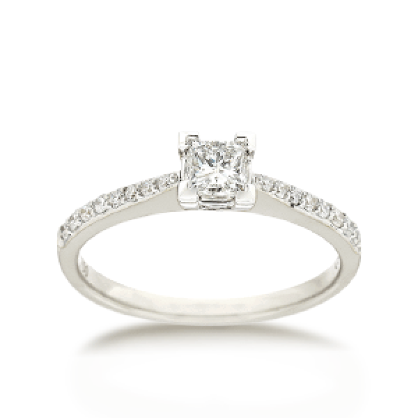 18ct Brilliant-cut 0.51ct TDW Diamond Shoulder Solitaire