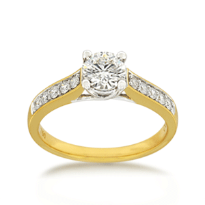 18ct Brilliant-cut 0.70ct TDW Diamond Shoulder Solitaire