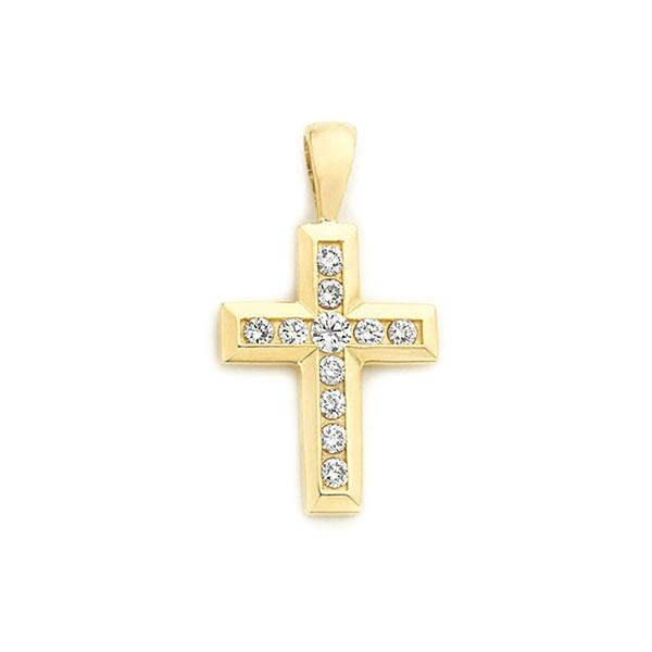 18ct Gold Channel Set Cross Pendant