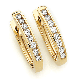 18ct Gold Channel Set Huggies