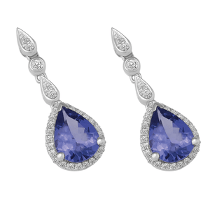 18ct Gold Pear Tanzanite Earring