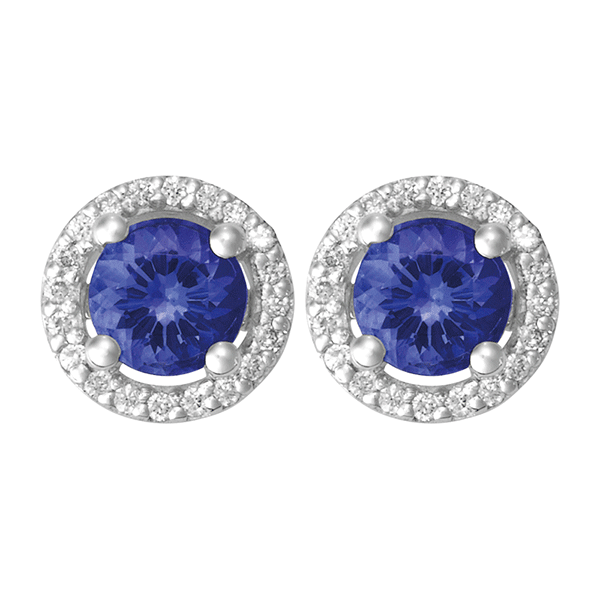 18ct Gold Round Tanzanite Earring