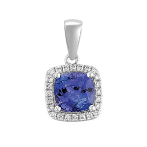 18ct White Gold Cushion Tanzanite and Round Brilliant-cut Diamond Pendant