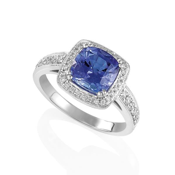 18ct White Gold Cushion Tanzanite and Round Brilliant-cut Diamond Ring