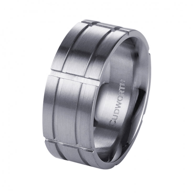 Brushed Stainless Steel Indented Grid Ring