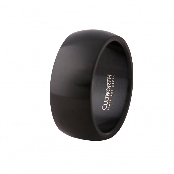 Brushed lon Plated Black Stainless Steel Ring
