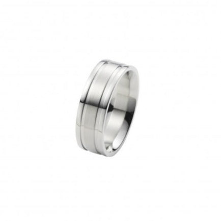 Polished Stainless Steel Ring with Brushed Centre Band