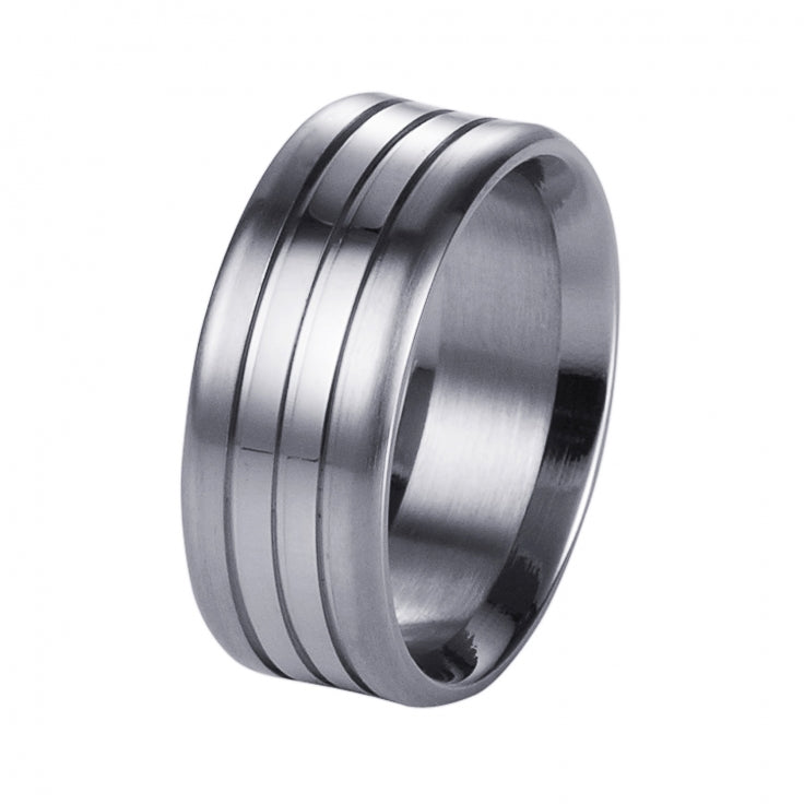 Brushed Stainless Steel Ring with Double Polished Centre Bands