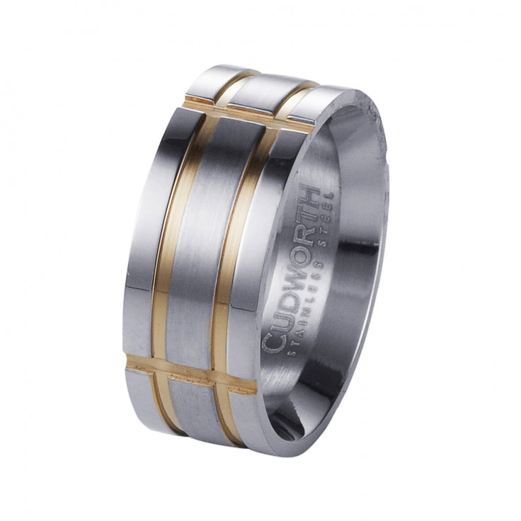 Brushed Stainless Steel and Ion Plated Yellow Gold Indented Grid Ring