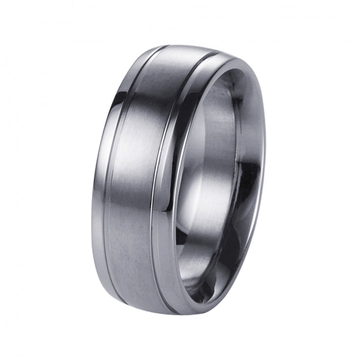 Polished Stainless Steel Ring with a Brushed Centre Band
