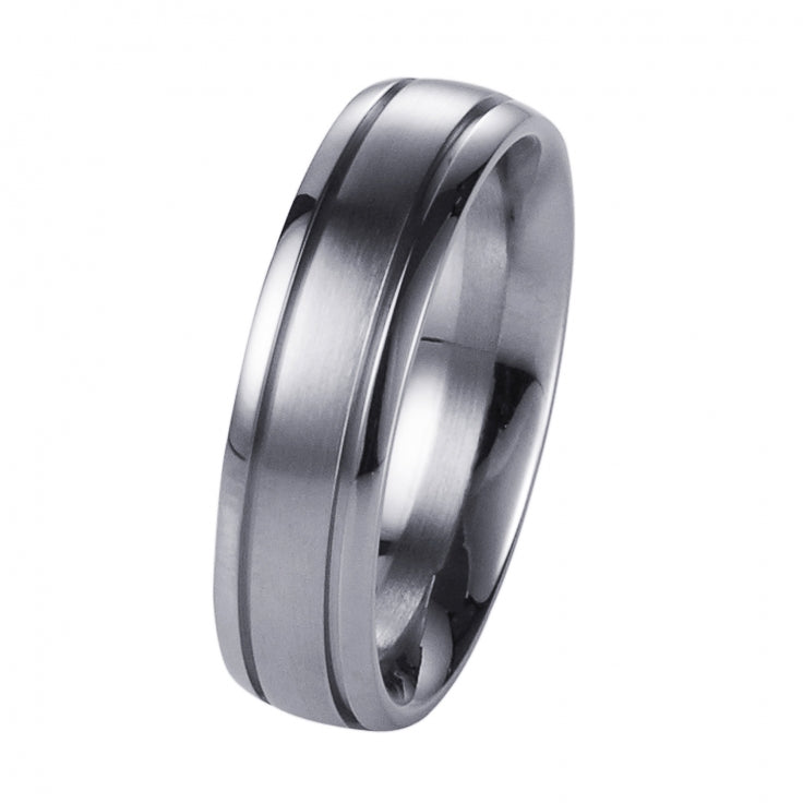 Brushed Stainless Steel Ring with Polished Centre Band