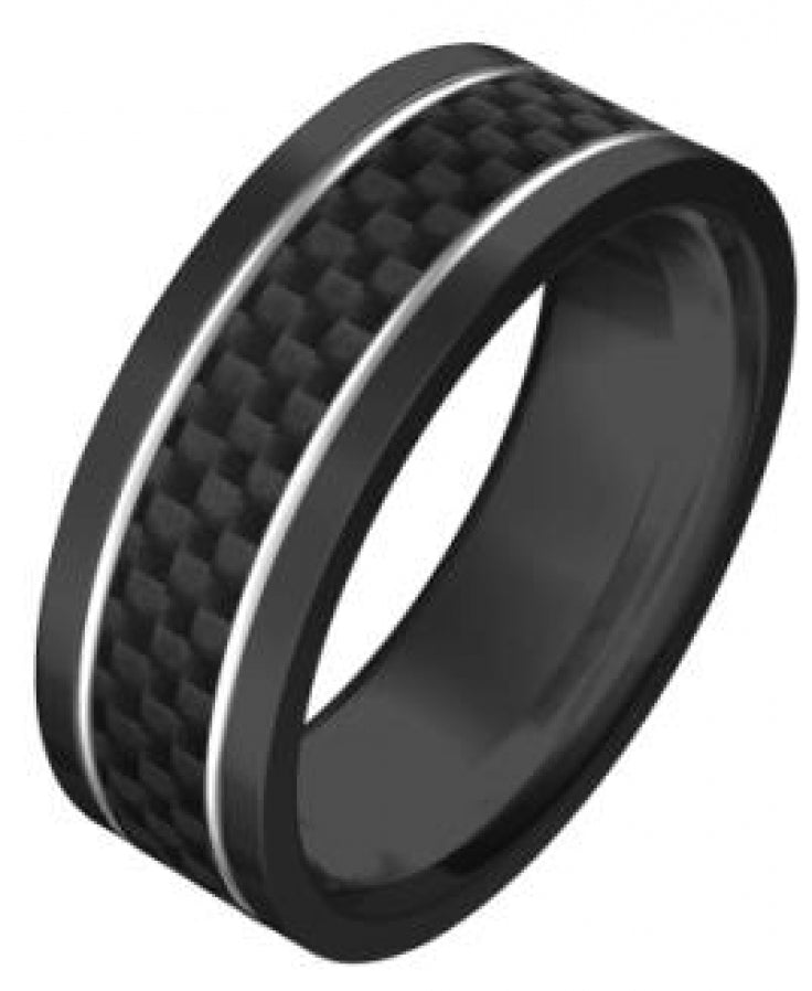 Ion Plated Black Stainless Steel/Carbon Fibre Inlay Ring