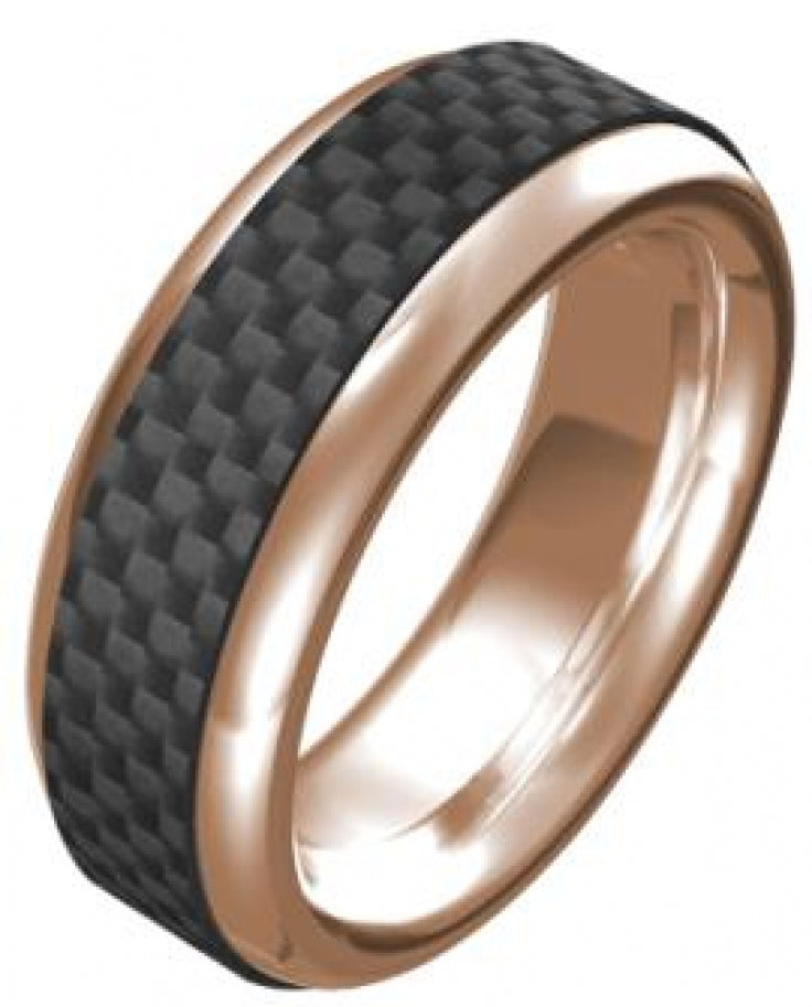 Stainless Steel/IP Rose Gold/Carbon Fibre Ring