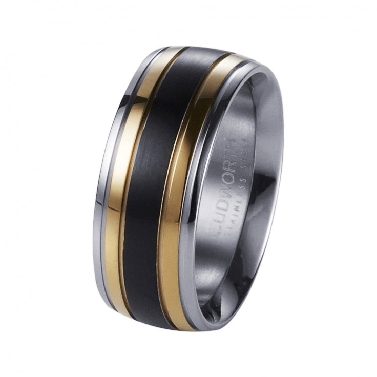 Polished Stainless Steel, Ion Plated Gold and Matt IP Black Ring