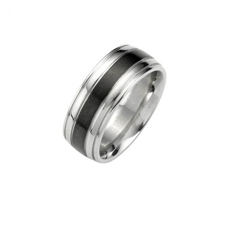 Stainless Steel Ion Plated Black Center-Band Ring