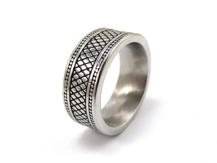 Brushed Stainless Steel with Ion Plated Black Lattice Pattern Ring