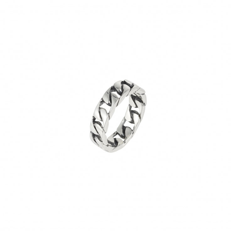 Polished and Oxidised Rhodium Plated Sterling Silver Curbed Link Ring