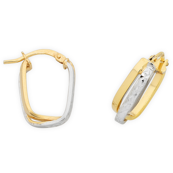 9ct 2-Tone Gold Silver Filled Hoop Earrings