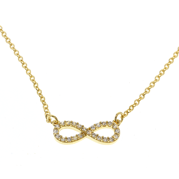 9ct 45cm CZ Infinity Necklace
