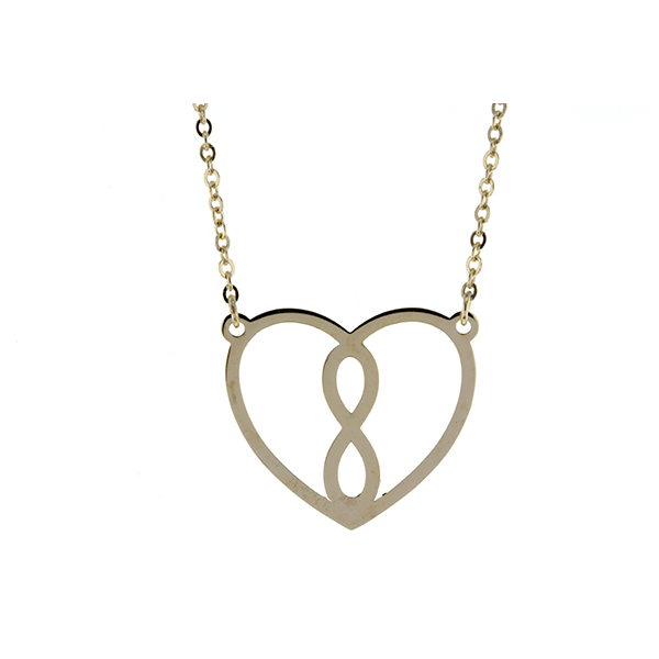 9ct 45cm Infinity  Heart Necklace