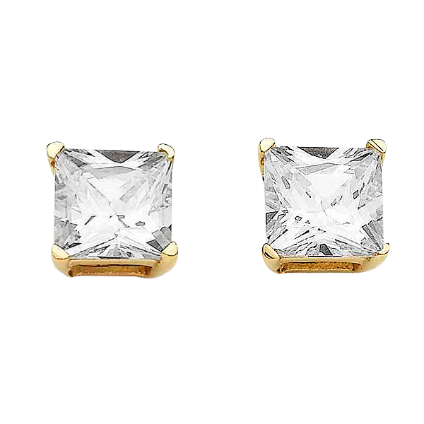 9 Carat 4mm Princess Cut Sterling Silver Cubic Zirconia Earrings