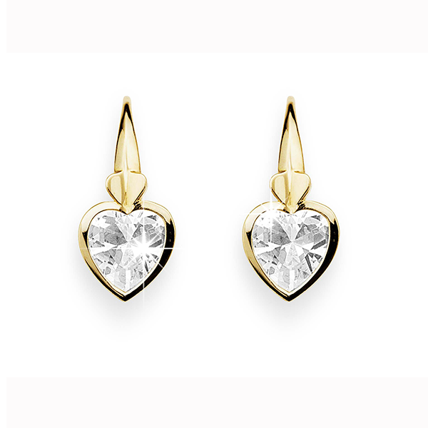 9 Carat Cubic Zirconia Heart Drop Earrings