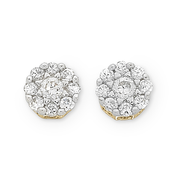9ct Gold 1/2ct TDW Diamond Stud Earrings
