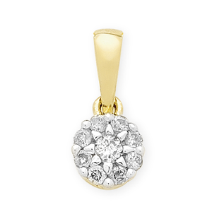 9ct Gold 1/4ct TDW Diamond Pendant