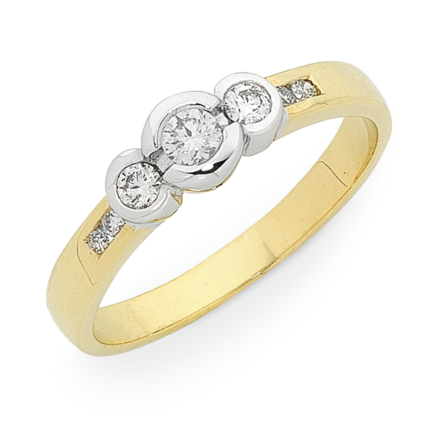 9ct Gold 1/4ct TDW Diamond Trilogy Ring