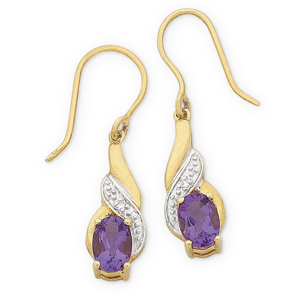 9ct Gold Amethyst And Diamond Set Earrings