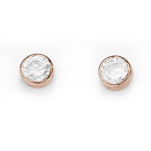 9ct Rose Gold Bezel-Set CZ Earrings