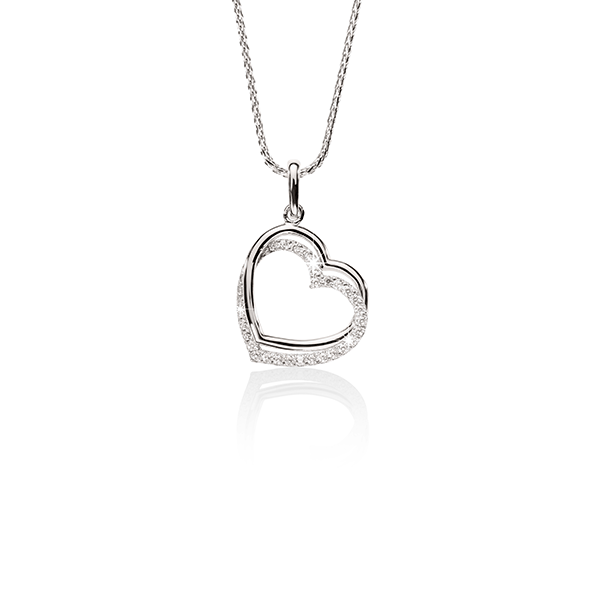 9ct White Gold Double Heart Cubic Zirconia Pendant