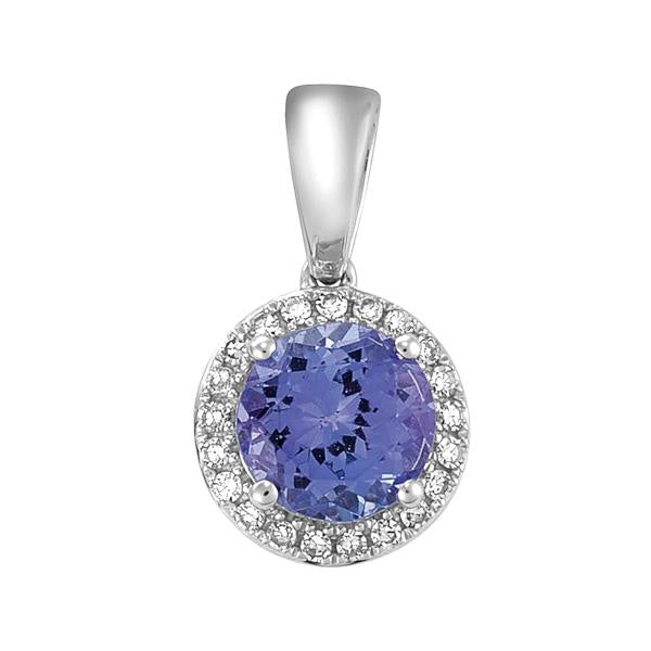 9ct White Gold Round Tanzanite and Round Brilliant-cut Diamond Pendant