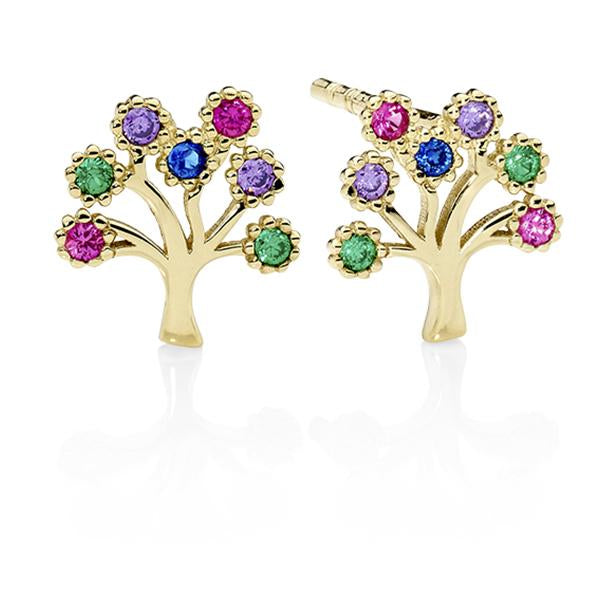9ct gold Multi Color CZ Tree Stud Earrings