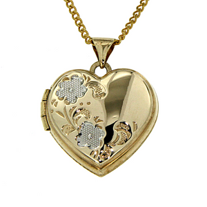 9ct gold-bonded silver 2 tone heart locket