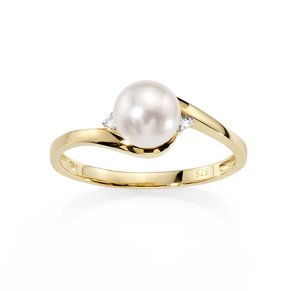 9ct Gold Freshwater Pearl And Diamond Swirl-Style Ring