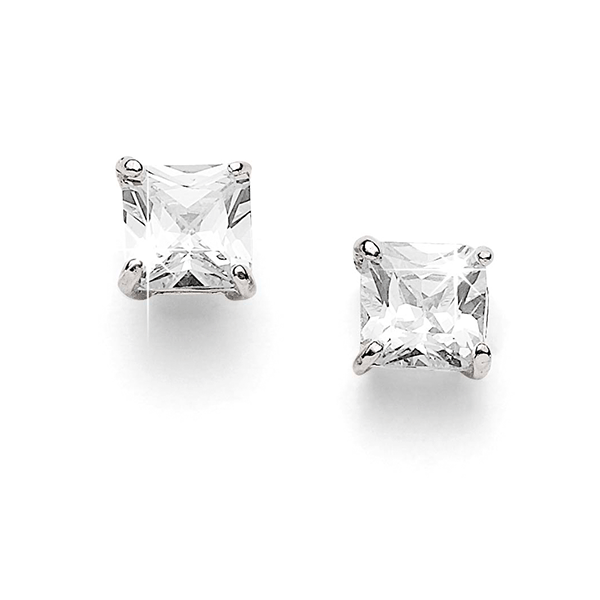 Sterling Silver 4mm Square 4 Claw Set Cubic Zirconia (CZ) Studs